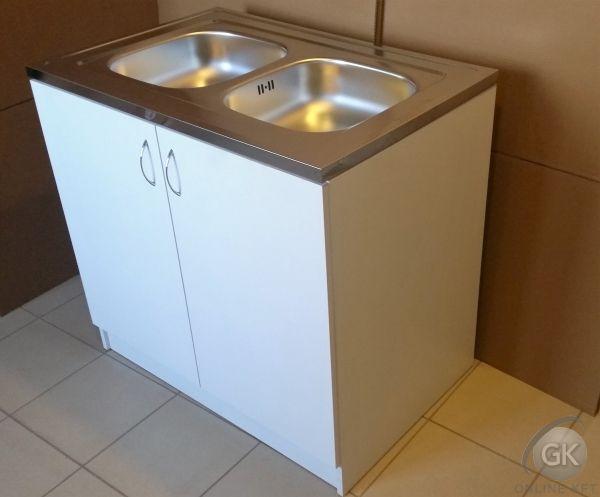 900X600 Komplett 2 medencés nyílóajtós mosogatószekrény FEHÉR ver2